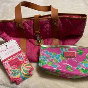 LILLY PULITZER Tote, Pouch, Huggie Bundle
